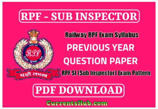 RPF SI (Sub Inspector) Previous Year Question Paper PDF