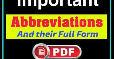 Important Abbreviations PDF