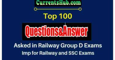 100 Important GA questions from Railway