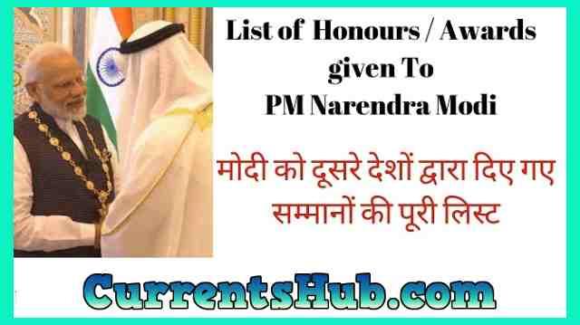Narendra Modi awards list
