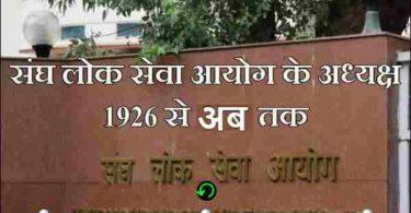 भारत में यूपीएससी(UPSC) अध्यक्ष की सूची