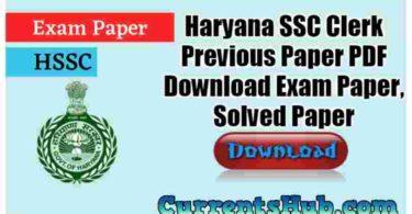Haryana SSC Clerk Previous Paper PDF