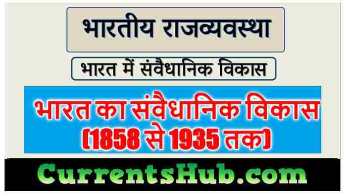 भारत का संवैधानिक विकास (1858 से 1935 तक)