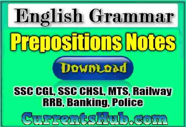 Prepositions PDF Notes