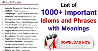 Idioms and Phrases with Meaning and Example PDF Download
