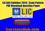 LIC AAO Syllabus 2020 | Prelims Exam Pattern, PDF Download (Hindi/ English), Question Paper