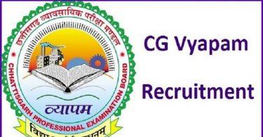 CG Vyapam Recruitment 2020 | छ0ग0 व्यापमं में विभिन्न पदों पर निकली सीधी भर्ती