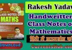 Rakesh Yadav Maths Notes (Chapterwise) Full Book PDF Download