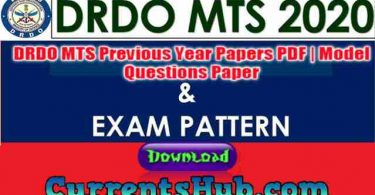 DRDO MTS Previous Year Papers PDF | Model Questions Paper