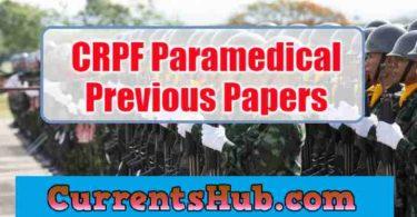 CRPF Paramedical Previous Papers