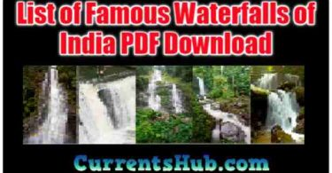 List of Famous Waterfalls of India PDF Download