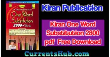 Kiran One Word Substitution 2800 pdf Free Download